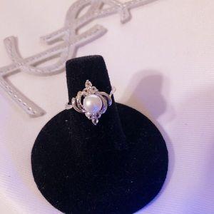 Akoya pearl Diamond Accent 14K white gold vermeil